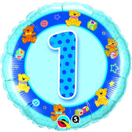 1st Birthday Teddies Blue Foil Balloon